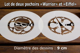 "Lot de 2 pochoirs ""Warrior"" et ""Eiffel"""