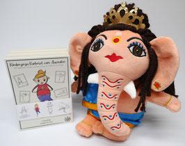 Ganesha + Kinderyoga Kartenset zum Ausmalen