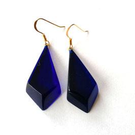Ohrhänger in Rautenform königsblau- transparent