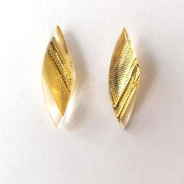 Ohrstecker transparent mit Textileinschluss gold