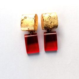 Rote Ohrclips mit Goldmetallauflage