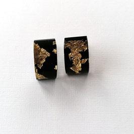 Ohrstecker schwarz mit Goldmetalleinschluss