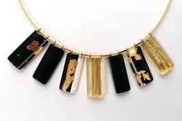Halskette schwarz Goldmetalleinschluss Textileinschluss gold