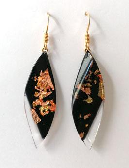 Ohrhänger schwarz mit Kupfermetalleinschluss