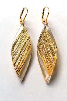 Ohrhänger transparent mit Textileinschluss gold