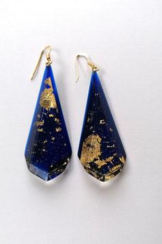 Ohrhänger royalblau - transparent mit Goldmetalleinschluss