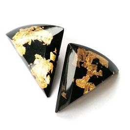 Ohrclips schwarz mit Goldmetalleinschluss