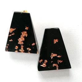 Ohrclips schwarz mit Kupfermetalleinschluss