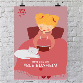 "Miss Happy Girl - ""Bleib daheim"" Print A4"