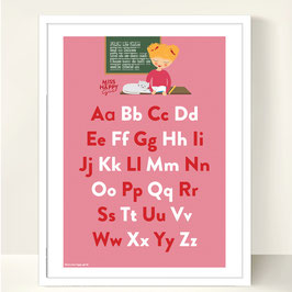 Miss Happy Girl ABC Art Print