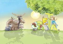 DIN-A-2 Poster Greta mit Tieren