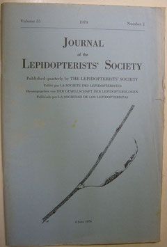Journal of the Lepidopterist's  Society Vol.33 No.1