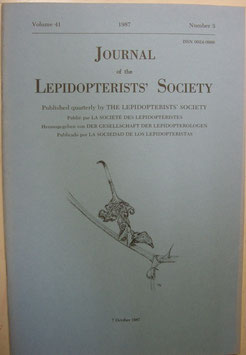 Journal of the Lepidopterist's  Society Vol.41 No.3