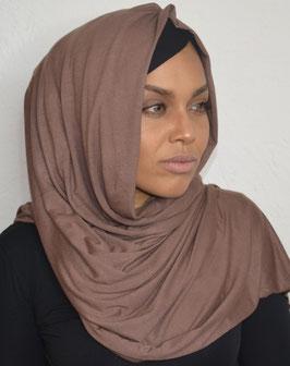 Hijab maxi jersey marron