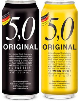 2x Cajas Original 5,0 - Pils & Weissbier- 48 latas de 500cc