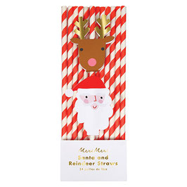 »Santa and Reindeer Christmas Straws«  —  Meri Meri