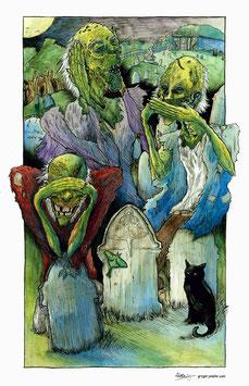 Three Wise Zombies (Art Print)