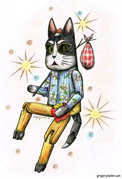 Hinged Rebel Cat (Art Print)