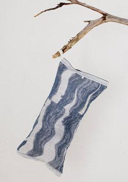 """Saunakissen """"Aallonmurtaja """"blau-weiß 20x46 cm"""