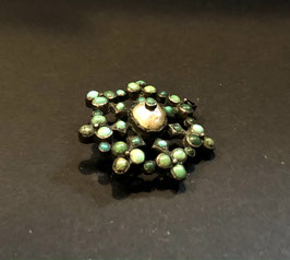 Silver brooch with pearl and turquoise
