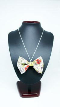 Collier papillon fleurs s jaune - à usage 4 en 1 - fait à LYON