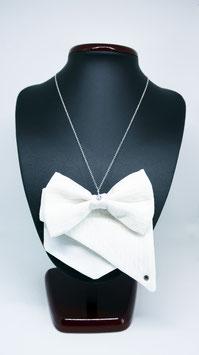 Collier créateur en coton piqué jacquard, blanc, fait à LYON