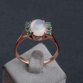 """Vintage Unikat: Ring """"Mondstein und Smaragd"""""""