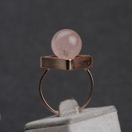 Vintage Unikat: Ring mit Rosenquarzkugel