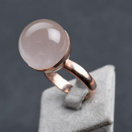 Vintage Unikat: Ring Rosenquarzkugel