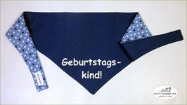 """Wende-Hundehalstuch zum Knoten """"Modell Geburtstagskind blau"""""""