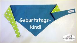 """Wende-Hundehalstuch zum Knoten """"Modell Geburtstagskind grün"""""""
