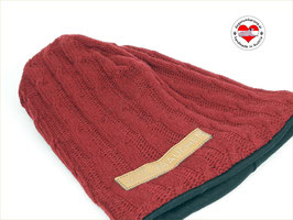 Beanie Zopfmuster rot