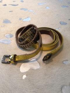 Ledergürtel ohne Nieten - gold