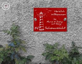 "RED Style ""traumBlinky Leuchtturm"" Türschild HAUSNUMMER"