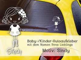 """""""Sindy"""" Autoaufkleber Sticker für Baby Kind"""