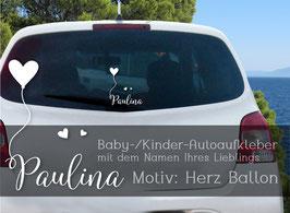 HERZ Ballon, Autoaufkleber Sticker für Baby Kind