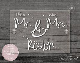 """Mr & Mrs rose""  Türschild"