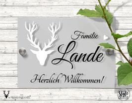 """GREY Style LANDHAUS """"HirschLIEBE"""" Türschild"""