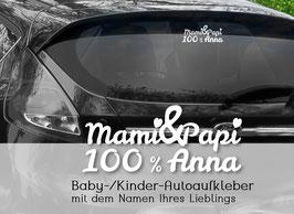 """""""Mama + Papa = 100 % DU"""" Autoaufkleber Sticker für Baby Kind"""