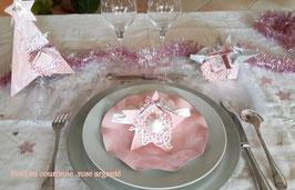 Noël en couronne rose argenté