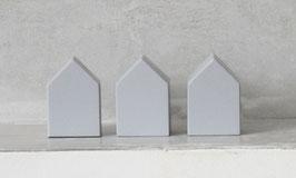 3er Set kleine Häuser grau