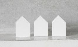 3er Set kleine Häuser weiß
