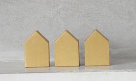 3er Set kleine Häuser gold