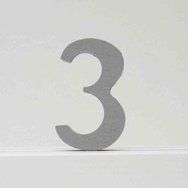 Zahl -3- grau