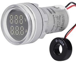 LED volt amper meter AC 500V 100A - okrogel