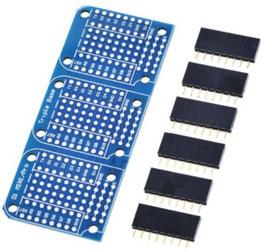 Baza prototipna plošča za 3x dodatna vezja Wemos D1 mini