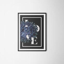 PRINT Flower blue