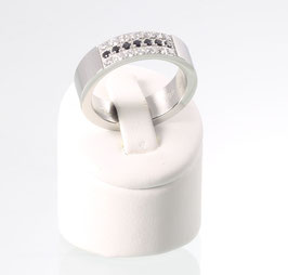 R3619SZ - Magnetring in silber mit Zirkonia