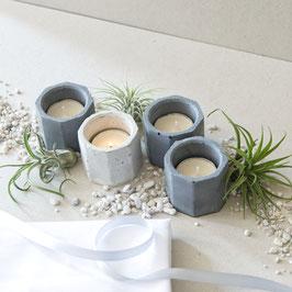 Concrete Hexagon Tealight Candle Holder Set of 4, Tablescape Set