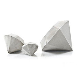 Set of Three Concrete Diamond Paperweights